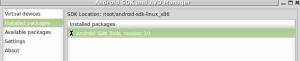 android tools cargada en la terminal de linux antes de la interface