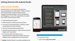 el ide de desarrollo android studio en la pagina web oficial de android developers