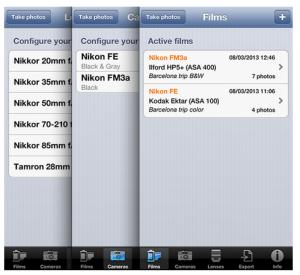 menus internos de la app photoexiff