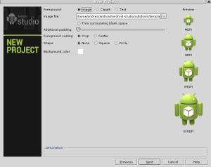 pantalla de acceso a la creacion de aplicaciones de android studio